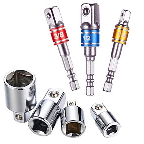 Feifox Akkuschrauber Stecknuss Adapter Steckschlüssel Nuss Set 3-teiliges 1/2 3/8 / 1/4 Zoll + Stecknuss Adapter 4-teiliges 1/4 auf 3/8-3/8 auf 1/4 Zoll - 3/8 auf 1/2-1/2 auf 3/8