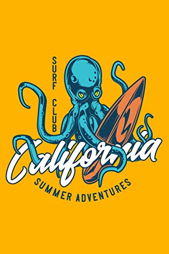 Surf Club - California Summer Adventures: 110 Page, Wide Ruled 6' x 9'  Blank Lined Journal