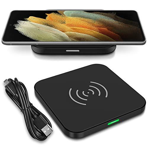 Nauci Cargador rápido QI inalámbrico compatible con Samsung Galaxy S21 Ultra 5G inalámbrico cargador inductivo universal