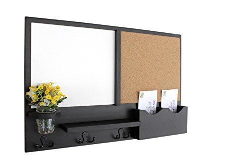 Legacy Studio Decor Message Center with White Board Cork Board Letter Holder Coat Rack Key Hooks Smooth Black