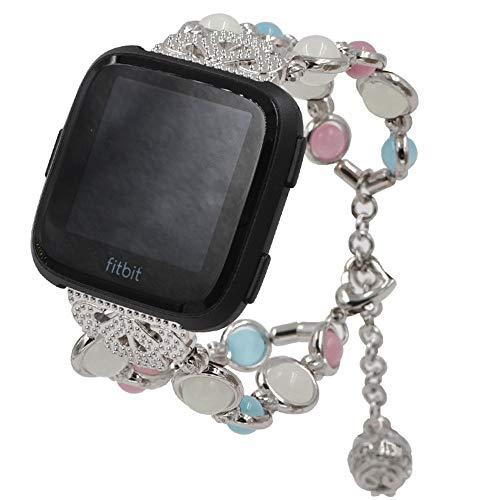 SunEVEN Uhrenarmband für Fitbit Versa Luminous Perlenarmband, Perlen-Achat-Metall Edelstahl Armband für Fitbit Versa Huawe i Watch 2Pro Huami 1/2/2s Smart Watch, Silberfarben