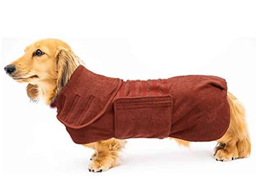 Morezi Pet toalla de microfibra perro albornoz ansiedad alivio chaleco diseño mantener la calma abrigo chaleco ajuste para dachshunds - marrón - XL
