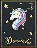 Daniela: Personalized Unicorn Sketchbook For Girls & Women With Elegant Golden Name Frame and Stars - 8.5 x 11 inches, 100 Pages White Paper Black ... Doodle Create and Taking Note ) MUST SEE !!!