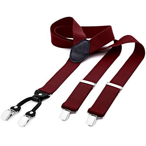DonDon® Herren Hosenträger breit 4 Clips mit Leder in Y-Form – Dunkelrot