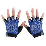 BESPORTBLE Kinder Handschuhe Half Finger Kinder Radfahren Radfahren Reiten Laufhandschuhe Jungen Mädchen Outdoor Sports Zubehör-Größe M (Blau)