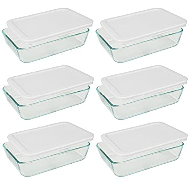 Pyrex 3-cup Rectangle Glass Food Storage Containers With White Plastic Lids.Use For Lunch Box, Storage Food ,And Baking Dish (pack of 6 Glass Containers) )