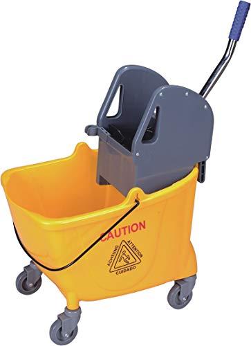 Cubo fregado profesional amarillo 32 litros con ruedas y prensa + asa