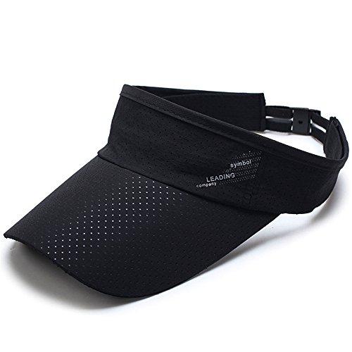 サンバイザー 吸汗速乾 UVカット 日焼け防止 スポーツ メンズ レディース 紫外線対策 軽量 ランニング キャップ メッシュ (ブラック)