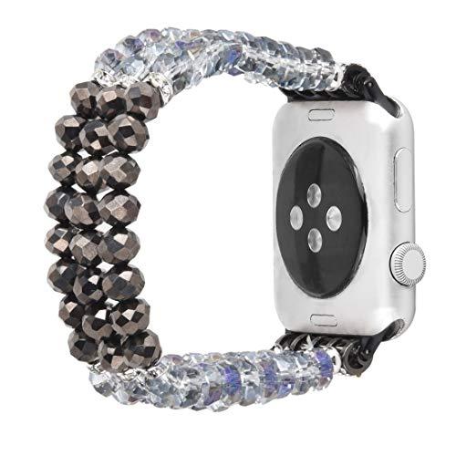 Cronto di Cristallo di Perle per Orologio Apple 5 & 4 44mm / 3 e 2 e 1 42mm Zhenzhiyangshangmao. (Color : Crystal Grey)