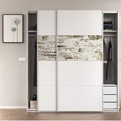 HABITMOBEL Armario Dormitorio con CAJONERA (3 cajones) en Color Blanco Brillo y Decapé, Medidas: 180x200x61 cm de Fondo