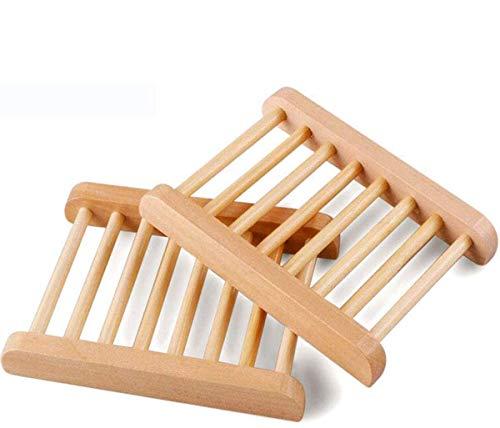 POFET - Portasapone in legno di bambù, 4 pezzi, per la casa, per il bagno, in legno, per vasca da bagno, doccia, accessori