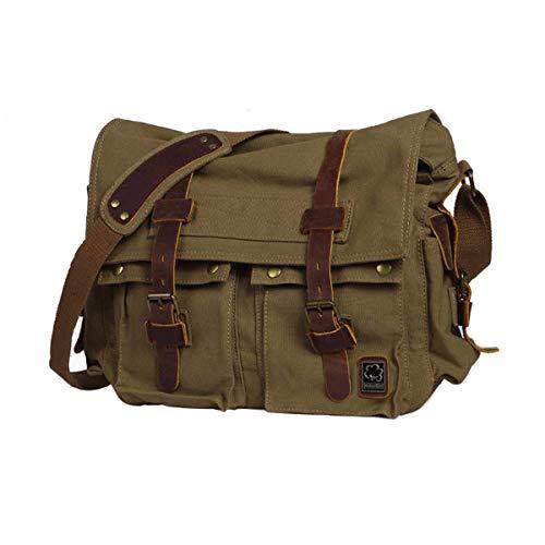 Everwell Umhängetasche Herren Vintage Canvas Schultertasche Multifunktion Messenger Bag Herrentasche Arbeitstaschen Kuriertasche für Arbeit Schule, Army Green
