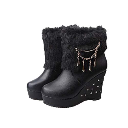 NOADream Vrouwen Hoge Hakken Enkel Laarzen Lederen Platform Wiggen Stijlvolle Pluche Warm Sneeuw Boot Bruiloft Party Jurk Mid-Calf Boot Size