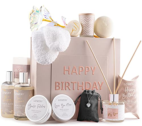 Birthday Gift Basket - Bath and Spa Gift Set for Women - Luxury Birthday Spa Gift Box with Vit E- Rich Bath Essentials, Diffuser, Candle, Sterling Silver CZ Heart Necklace, 24k Flower Rose Gift & More