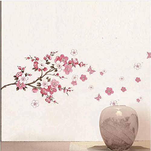 Pegatinas de pared de rama de árbol de cerezo flor de cerezo decoración de fondo mural arte calcomanías de plantas para decoración del hogar
