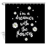 XBBAO - Cortina de ducha con diseño de margaritas, diseño rústico con flores blancas y un sueño con las flores en color negro, cortina de ducha para cuarto de baño,
