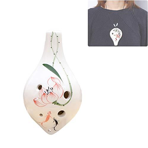 wansosuper Instrumento Musical de cerámica Ocarina de 6 Agujeros Alto C Estilo Botella de Vino con puntaje de música de cordón para Amantes de la música y Estudiantes,A
