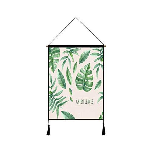 mmzki Nordic pequeña Sala de Estar Fresca Pintura Decorativa Fondo Pared Pintura algodón Lino Arte Oficina Tapiz Q 45 * 65 cm