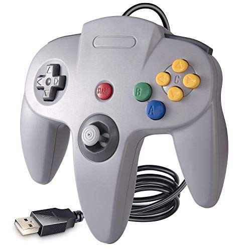 suily USB Controller für N64 Spiele, Classic N64 Bit USB Controller für Windows PC MAC Linux Raspberry Pi 3, Grau