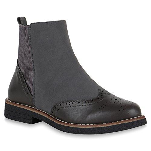 Damen Schuhe Stiefeletten Leicht Gefütterte Chelsea Boots Lyralochung 147552 Grau Cabanas 36 Flandell
