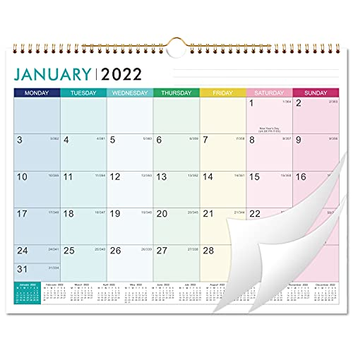 Artfan 2022 Calendar – 12 Monthly Wall Calendar Starts in Monday with Thick Paper 37 x 29 cm Jan. 2022 – Dec. 2022 Twin-Wire Binding Hanging Hook Large Mixed Color Ruled Blocks