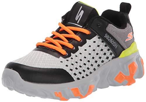 Skechers Kids Boys' Techno STRIDES-QUANTIX Sneaker, Light Grey/Charcoal, 4 Medium US Big Kid