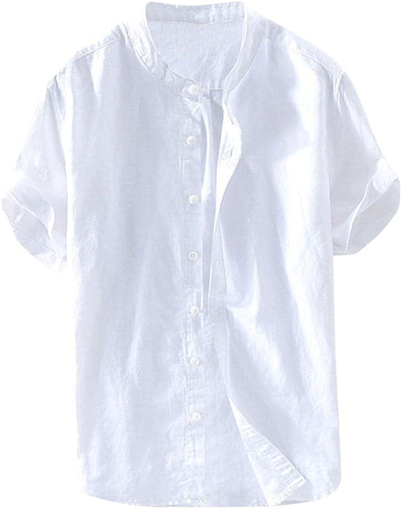 Burband Mens Button Down Linen Henley Shirts Hippie Baggy Cotton Summer Short Sleeve Banded Collar Plain Beach Tops
