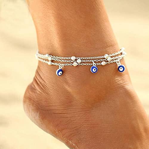 Aukmla - Cavigliera vintage in argento con perline e occhio malvagio, cavigliera a strati per donne e ragazze