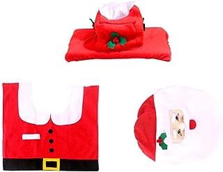 NIDONE 1 Set Creative Santa Santa Sedes Sedes Cover Cute Tank Cover Dywanik i Paper Box Wymiana 3 w 1 Pokrycie Lazienki Ze...