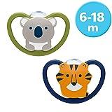 NUK Space Pacifier, forma de mandíbula, 6-18 meses, silicona, koala y tigre, 2...
