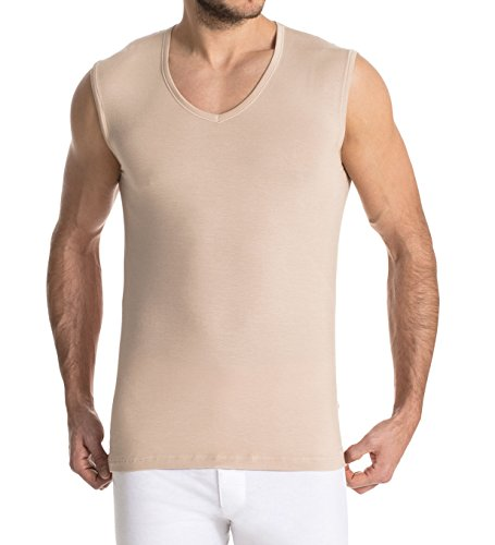 FINN Business Herren Unterhemd Ärmellos mit V-Ausschnitt Micro-Faser Tank-Top Männer Unsichtbare Hautfarbe Nude S