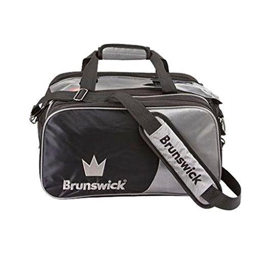 Brunswick Crown Doppel-Tragetasche mit Schuhbeutel, Bowling-Tasche, silberfarben