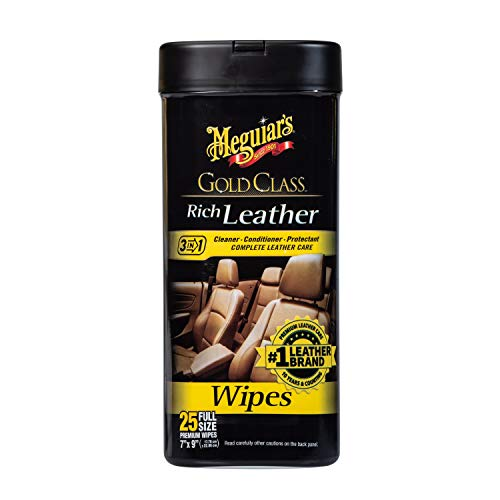Meguiar's G10900 Gold Class Rich Leather Wipes, 25 Wipes