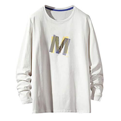 Sweatshirt Felpa Uomo Top a Maniche Lunghe comode Larghe con Stampa di Lettere di Moda di Tendenza di Autunno (XL,2- Bianca)