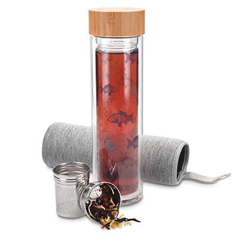 Navaris Botella de Agua de Cristal - Termo para te de 500 ML de Vidrio de borosilicato - Tetera con Filtro para te de Acero Tapa y Funda de Neopreno