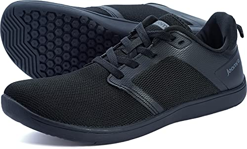 Joomra Men's Barefoot Trail Running Shoes Minimal Marathon Cross Trainer Size 9.5 Zero Drop Trekking Sports Treadmill Male Hiking Workout Sneakers Walking Footwear Zapatos para Hombres Black 43