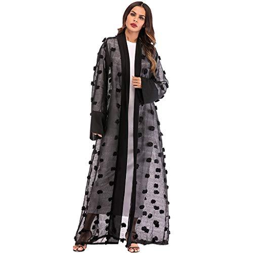Andouy Frauen öffnen Abaya Robe Kaftan Dubai Ethnische Strickjacke Elegante Gedruckte Blume Kimono Muslimischen Maxi-Kleid(2XL(48).Schwarz-Blume)
