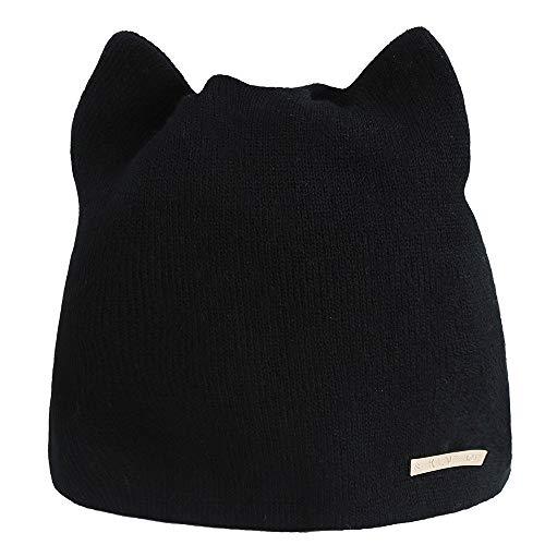 Beanie Mütze Damen Wintermütze mit Katzen ohren Winter Strickmütze Wollmütze Herren Jersey Stricken Hut XXYsm Schwarz