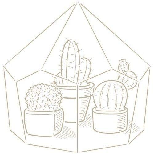 TODO-STENCIL Stencil Mini Deco Figure 133 Greenhouse Exterior Measurements: 12 x 12 Internal Measurements: Design 10 x 10 cm