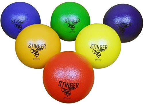 "GSM Brands Dodgeballs - Foam, Soft Skin, Low Bounce, 5.9"" - Set of 6 Dodge Balls for Kids and Adults"