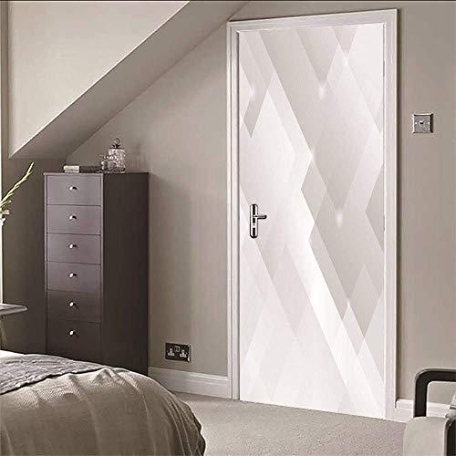 IXGMI Türtapete Weiß Selbstklebend Wasserdicht Wandbild Abnehmbar Türposter Heimtextilien PVC 88x200cm