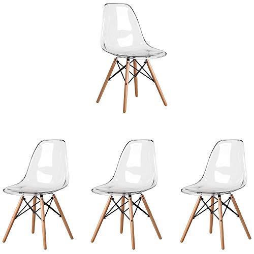 Conjunto de 4 sillas de comedor escandinavas transparentes Silla de comedor de diseño retro de policarbonato patas silla de diseño silla transparente Adecuado para sala de estar cocina (Transparente)