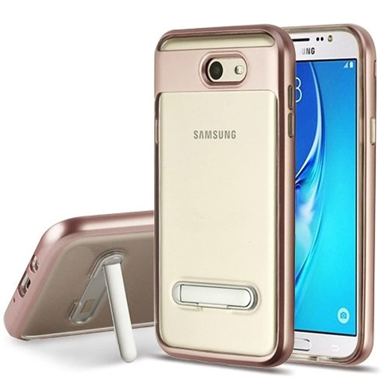 Phonelicious Slim Stand Series Compatible for SAMSUNG GALAXY J7 2017 / J7V / J7 SKY PRO / J7 PERX [Lightweight][Shock Proof] Protector Cover TPU + Screen Protector (ROSEGOLD/CLEAR TRANSPARENT STAND)