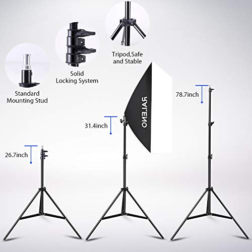 Softbox Photography Lighting Kit, 800W Studio Light 20″×28″E27 Socket 5500K Continuous Lighting Soft Box with Adjustable Lamp Stand and Portable Bag for Portraits Video Shooting by RALENO