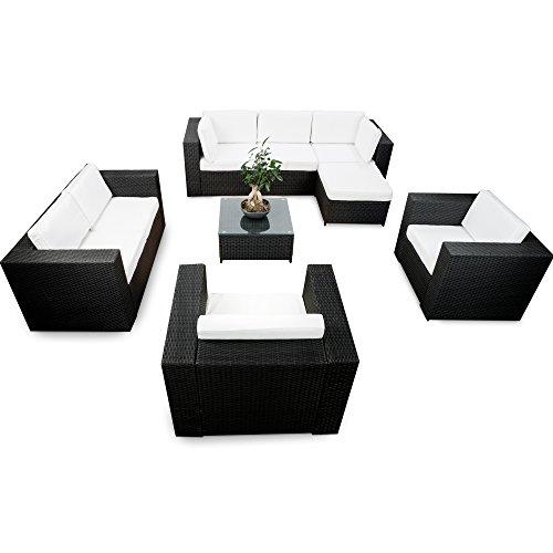 XXXL Lounge Möbel Set XXL erweiterbar - Polyrattan Lounge Eck Sofa Set - schwarz - Garnitur Lounge Eck Set Gartenmöbel - Gartenlounge Set inkl. Lounge Sofa + Ecke + Sessel + Hocker + Tisch + Kissen