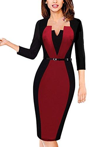 MisShow Damen V Ausschnitt Business Kleid Partykleid Pencil Etuikleider Strecken Tunika Gr.S-4XL