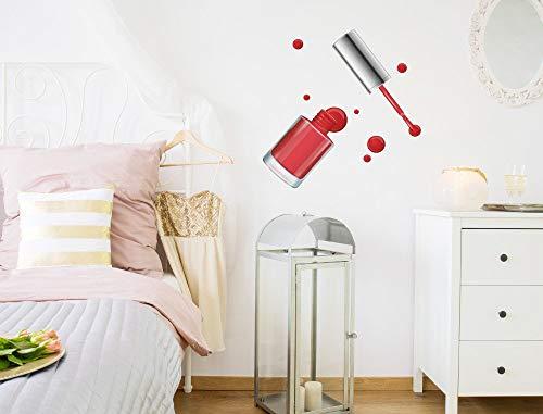 Muursticker Beauty 'Nagellak Rood'' Cosmetische make-up Muursticker Dressing Tafel Decoratie Eenvoudig aan te brengen en te verwijderen