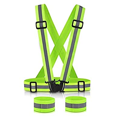 SAWNZC Running Reflective Vest Gear 1Pack with 2 Reflective Bands, Adjustable Safety Vests High Visible Reflective Belt Wristbands Straps for Night Running Outdoor Cycling Motorcycle Dog Walk Jogging