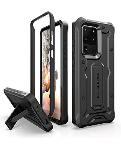 ArmadilloTek Vanguard Designed for Samsung Galaxy S20 Ultra Case (2020 Release) Military Grade Full-Body Rugged with Built-in Kickstand - Black