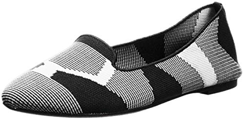 Skechers Women's Cleo-Sherlock-Engineered Knit Loafer Skimmer Ballet Flat, Black/White, 10 M US